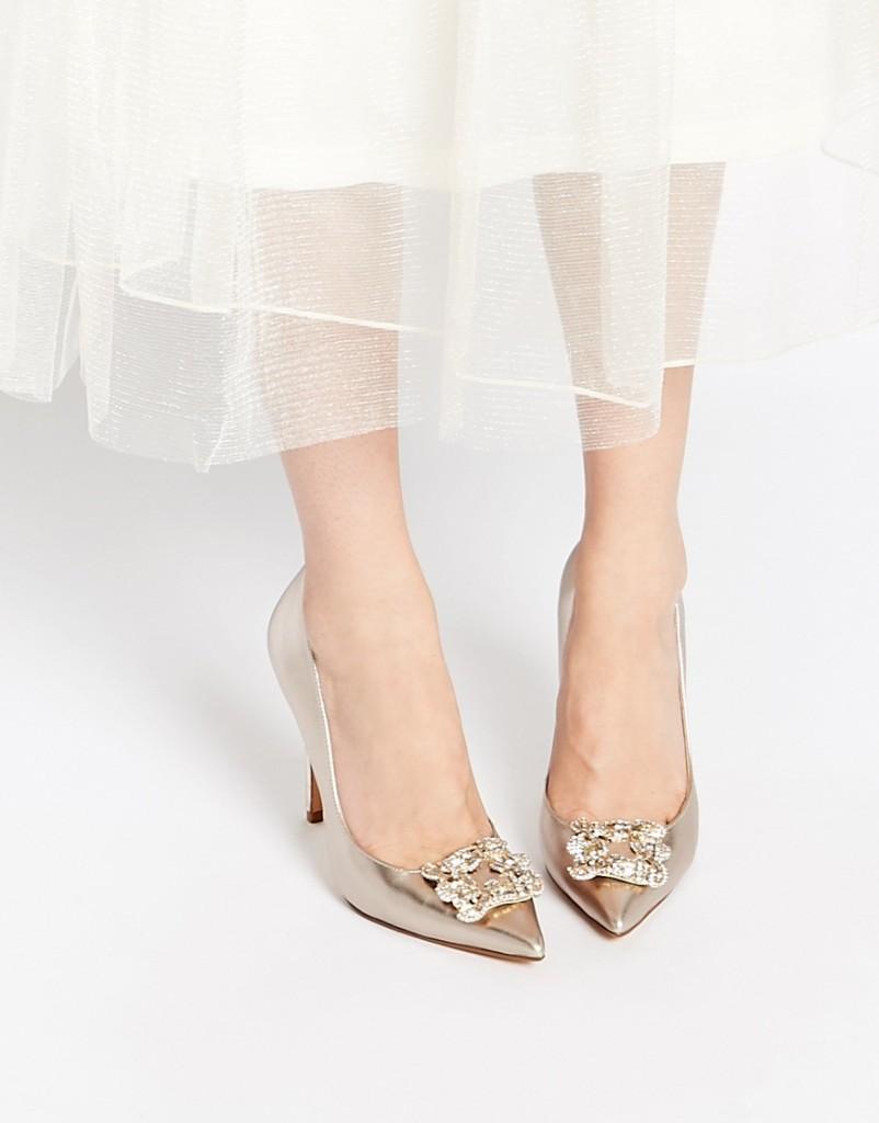 Dune Breanna Champagne Embellished Heeled Court Shoes