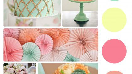 peach and mint colour palette