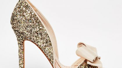 Miss KG Gabriella Gold Glitter Peep Toe Cut Out Court Shoes