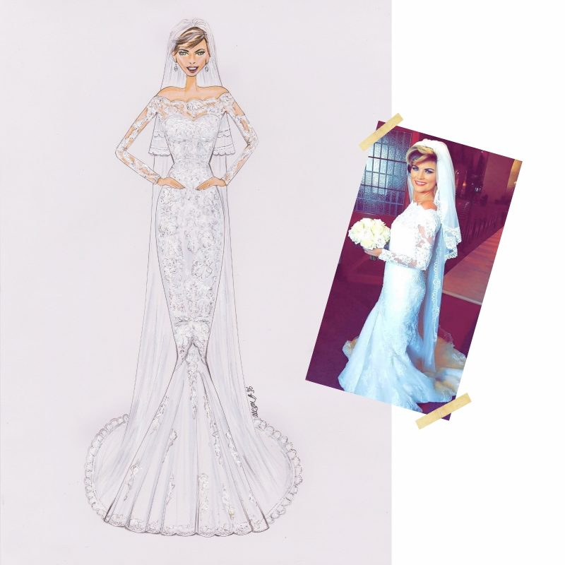 Custom Bridal Wedding Design Alison B Illustration