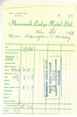 The Shamrock Lodge Hotel Menus & Receipts