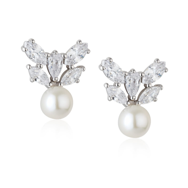 PC Aurora Collection Sterling silver earrings, fresh water pearl stud with a crystal crown. €120