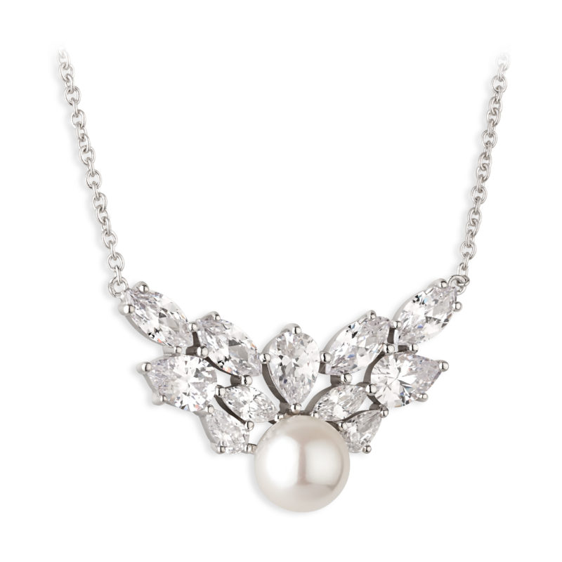 PC Aurora Collection Sterling silver necklet, fresh water pearl with a crystal cluster crown necklet €180