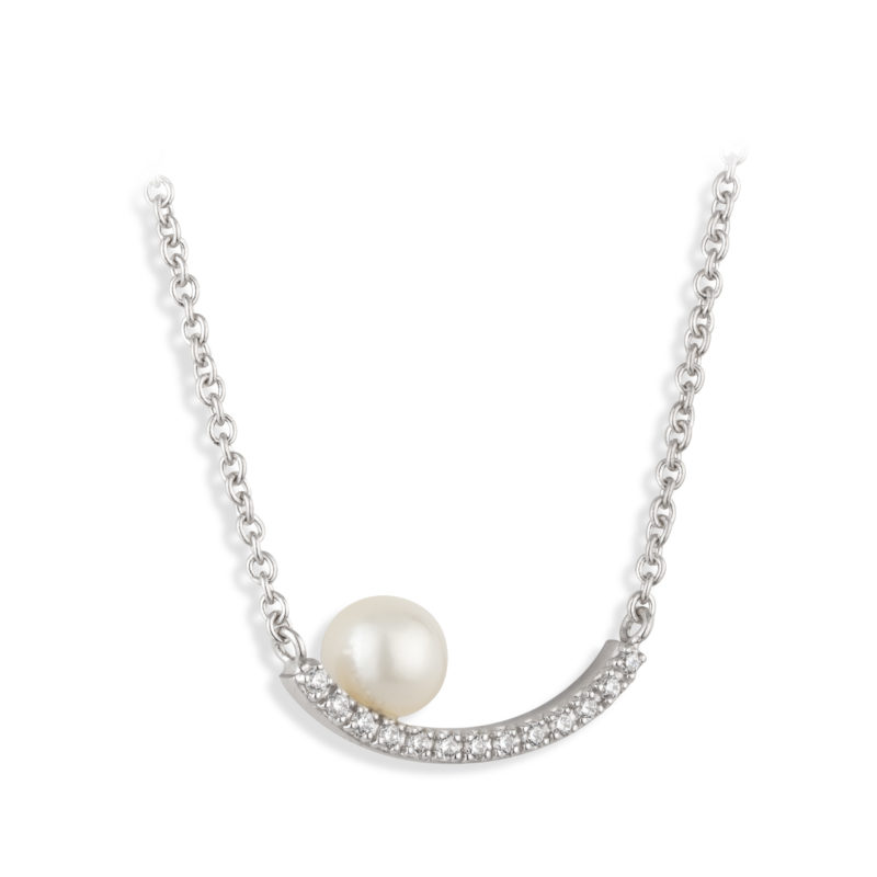 PCJ Aurora Collection Sterling silver pendant, fresh water pearl set on a crystal arc €120