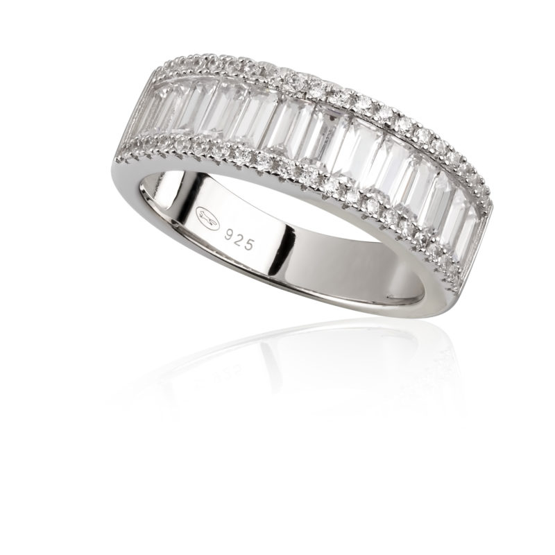 Paul Costelloe Jewellery Aurora Collection Sterling silver ring, crystal baguette set half wedding band €125