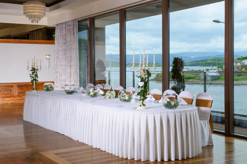 The Maritime wedding top table gold ribbon 1