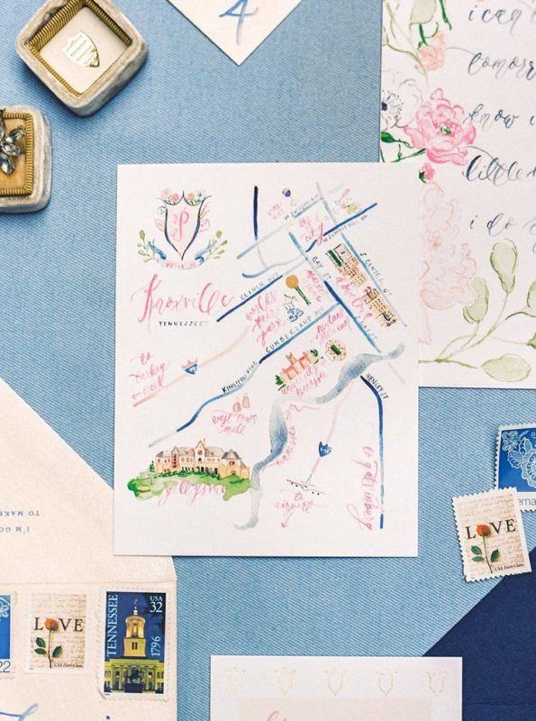 Custom+Watercolor+Floral+and+Gold+Foil+Wedding+Invitations+with+Watercolor+Wedding+Map,+Custom+Watercolor+Wedding+Crest,+Gold+Wax+Seal+and+Calligraphy+Envelope+Liners+Blush+and+Navy+Wedding+with+Fuchsia,+French+B (1)