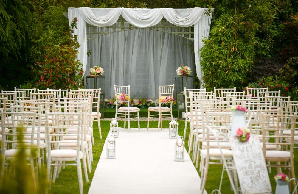 Garden civil ceremony set-up