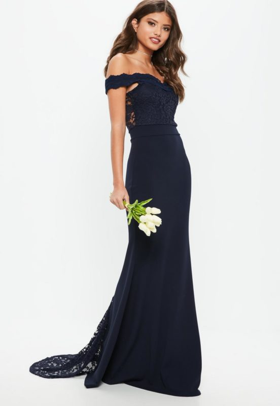 bridesmaid-navy-bardot-lace-insert-fishtail-maxi-dress