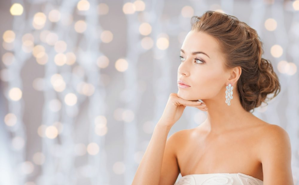 beautiful woman wearing shiny diamond earrings