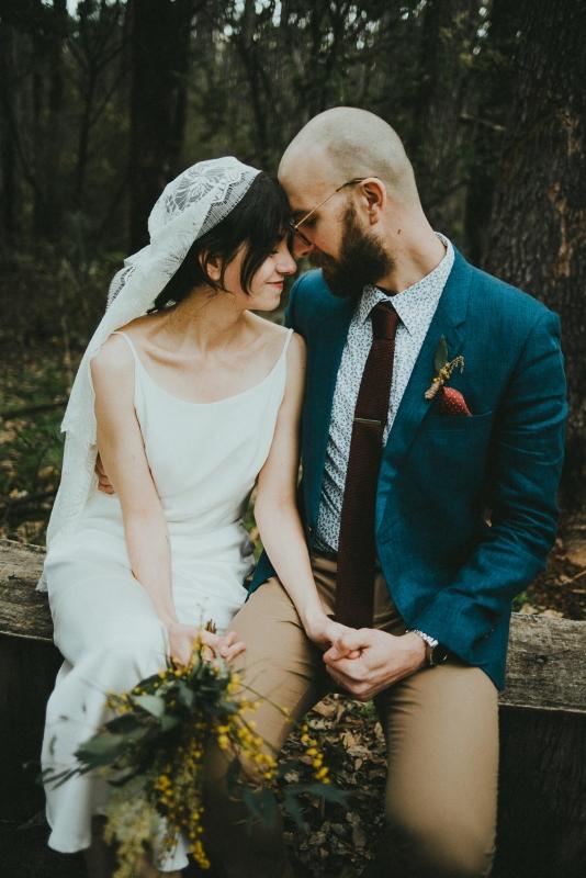 boho bride with juliette cap veil